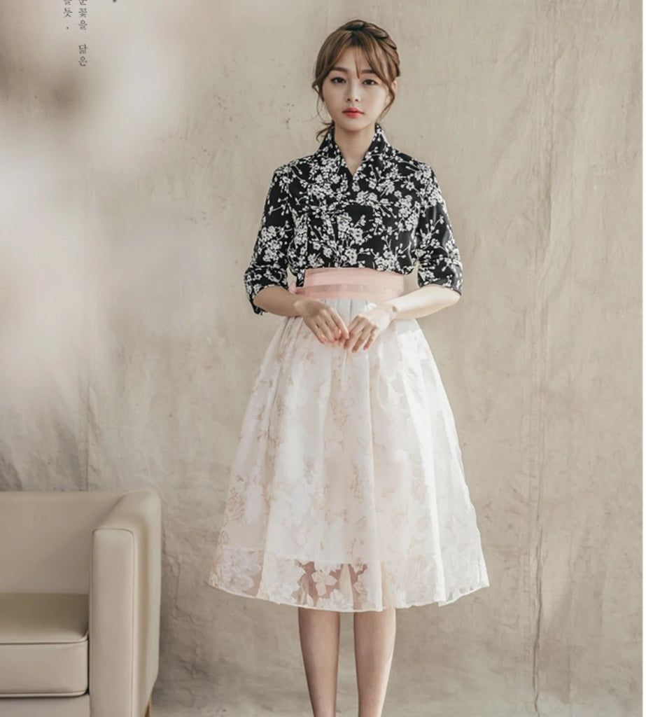 Women's Modern Hanbok: Black Cherry Flower Top with White Lace Skirt-The Korean In Me