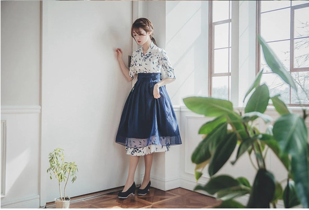 Women's Modern Hanbok: Blue Floral Print Dress with Royal Blue Skirt-The Korean In Me
