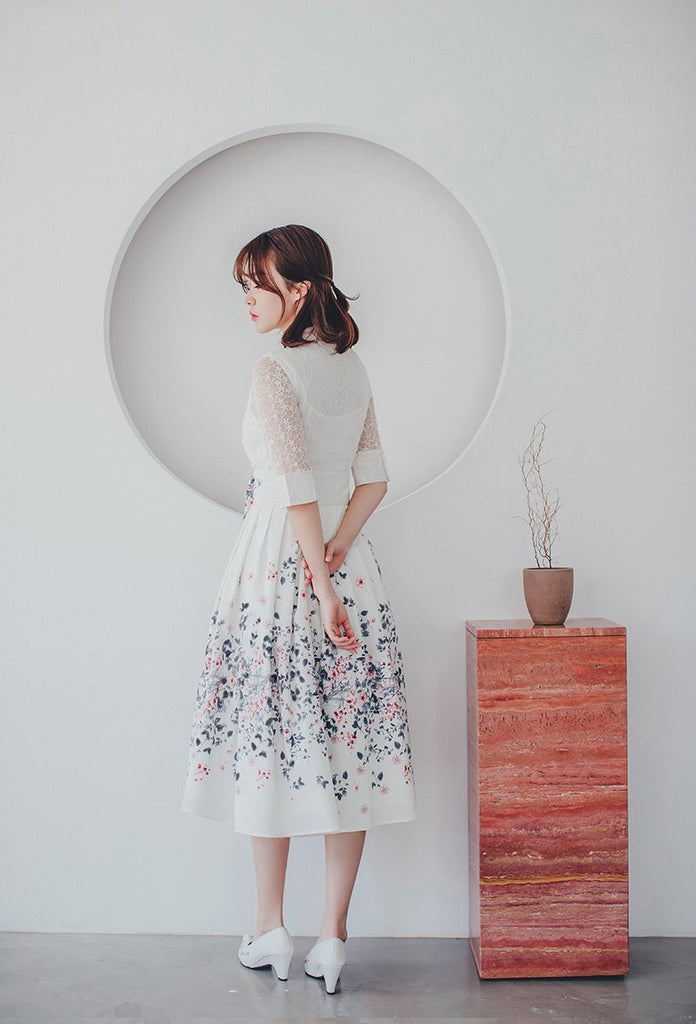 Women's Modern Hanbok: Cream Lace Dress with Soft Floral Print Skirt-The Korean In Me