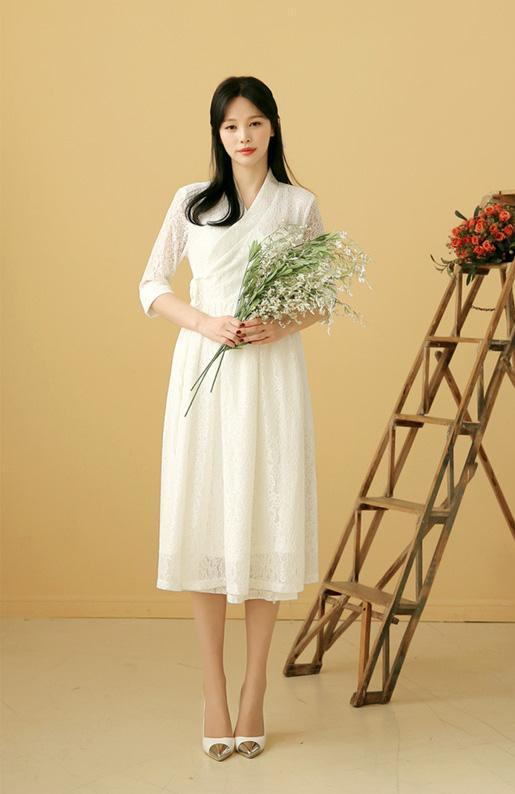 Women's Modern Hanbok: Cream Lace Dress-The Korean In Me
