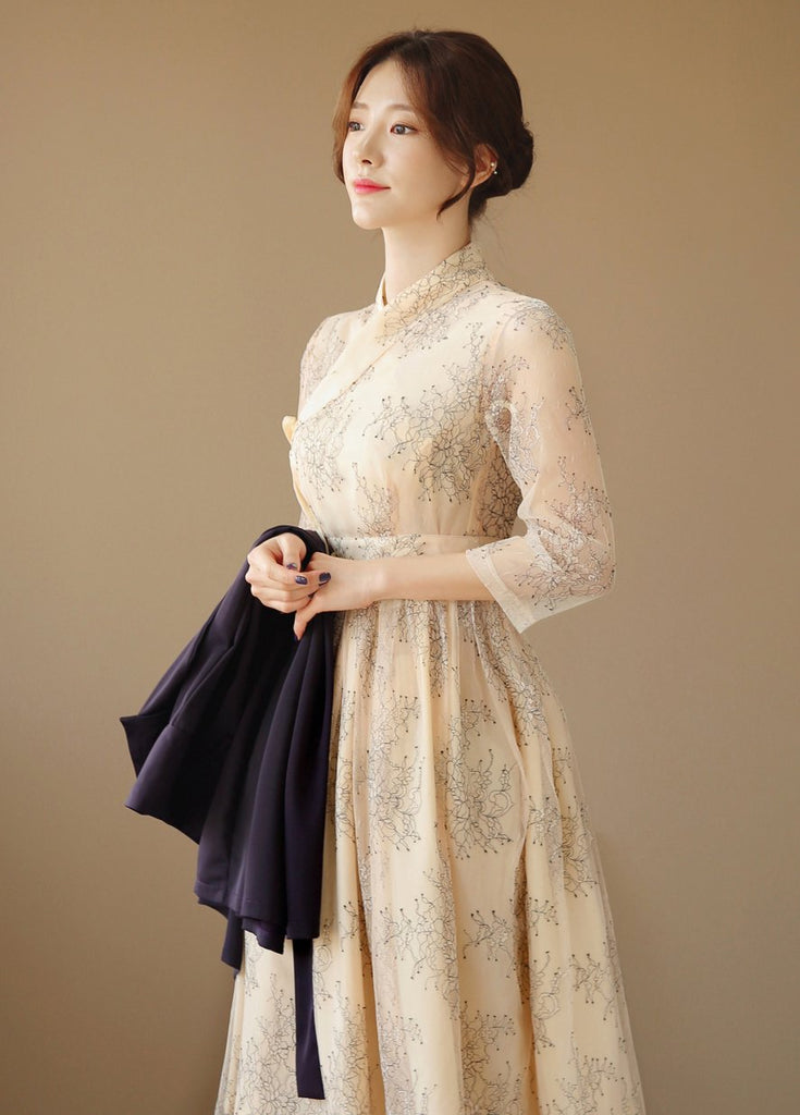Women's Modern Hanbok: Midnight Beige Dress-The Korean In Me