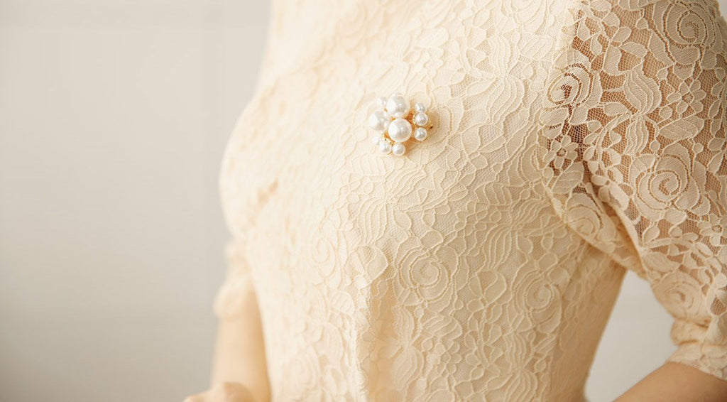 Women's Modern Hanbok: Pearl Ivory Lace Dress-The Korean In Me
