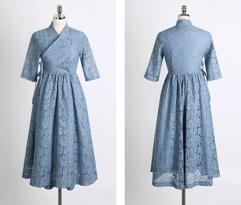 Women's Modern Hanbok: Periwinkle Lace Dress-The Korean In Me