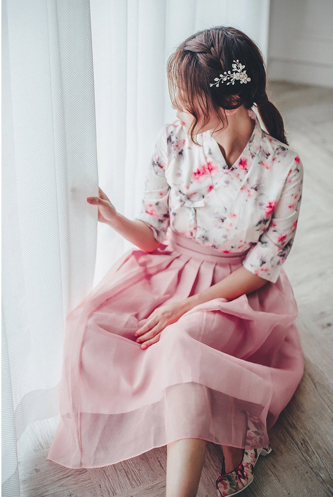Women's Modern Hanbok: Pink Watercolor Top with Tulle Skirt-The Korean In Me