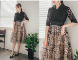 Women's Modern Hanbok: Romantic Black Lace Top with Beige Skirt-The Korean In Me