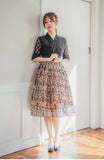 Women's Modern Hanbok: Romantic Black Lace Top with Beige Skirt