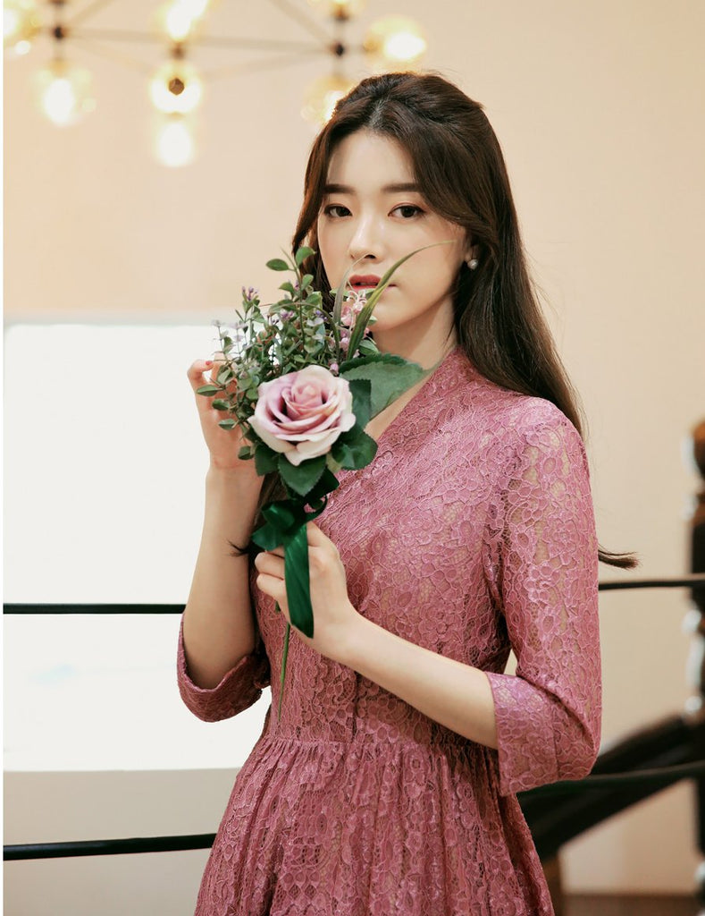 Women's Modern Hanbok: Romantic Pink Lace Dress-The Korean In Me