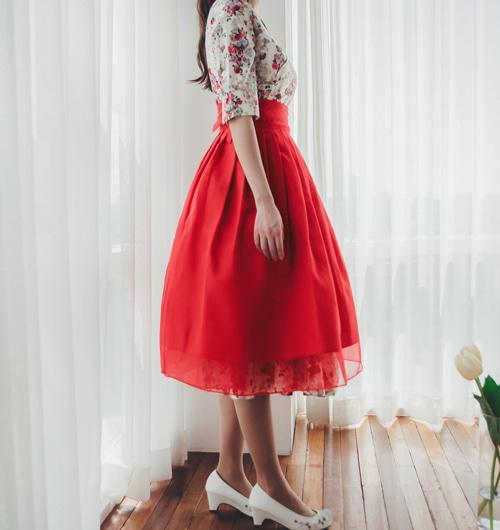 Women's Modern Hanbok: Rose Floral Dress with Red Tulle Skirt-The Korean In Me