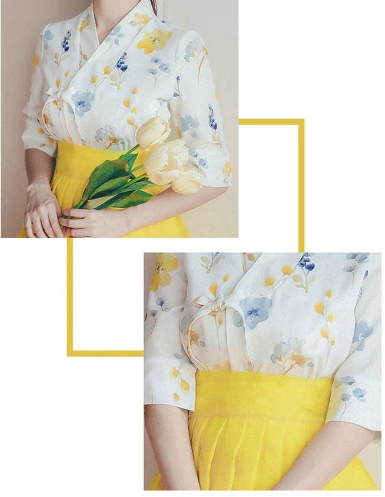 Women's Modern Hanbok: Sunny Spring Top with Yellow Tulle Skirt-The Korean In Me