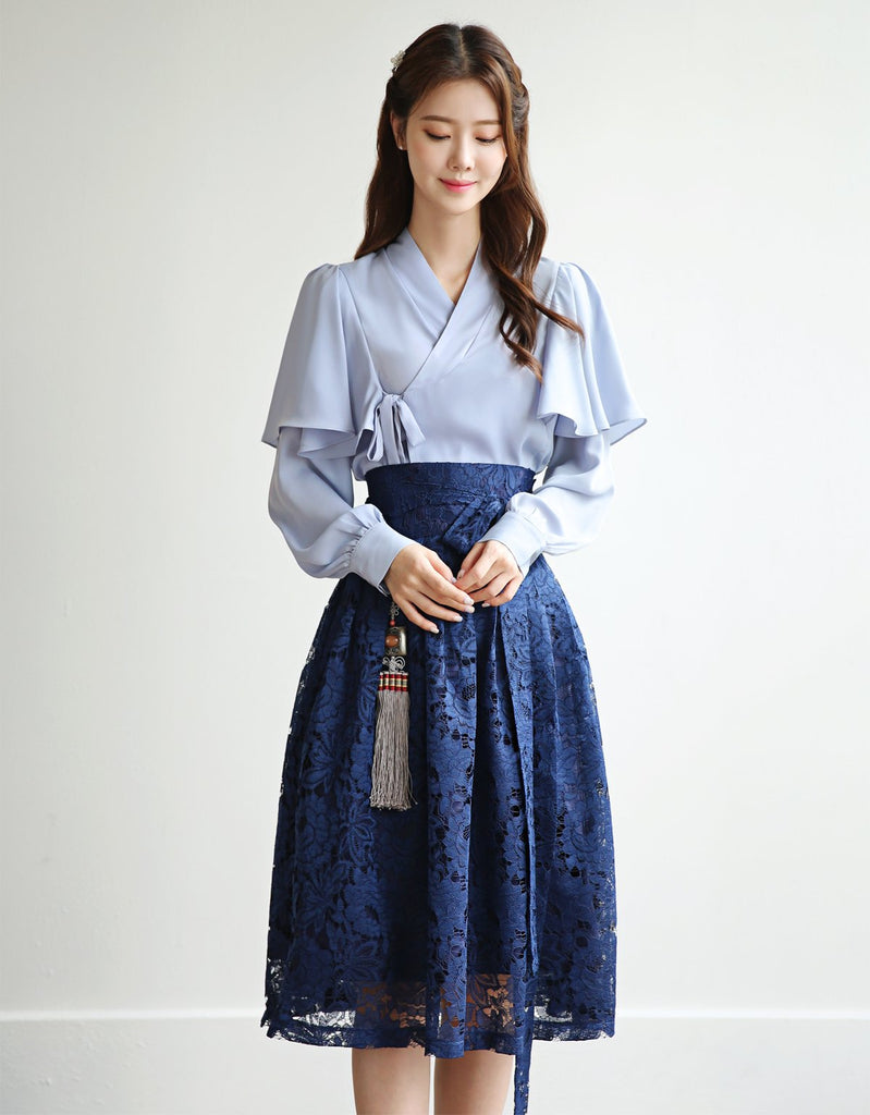 Women's Modern Hanbok: Tinted Blue Classic with Lace Royal Blue Skirt-The Korean In Me