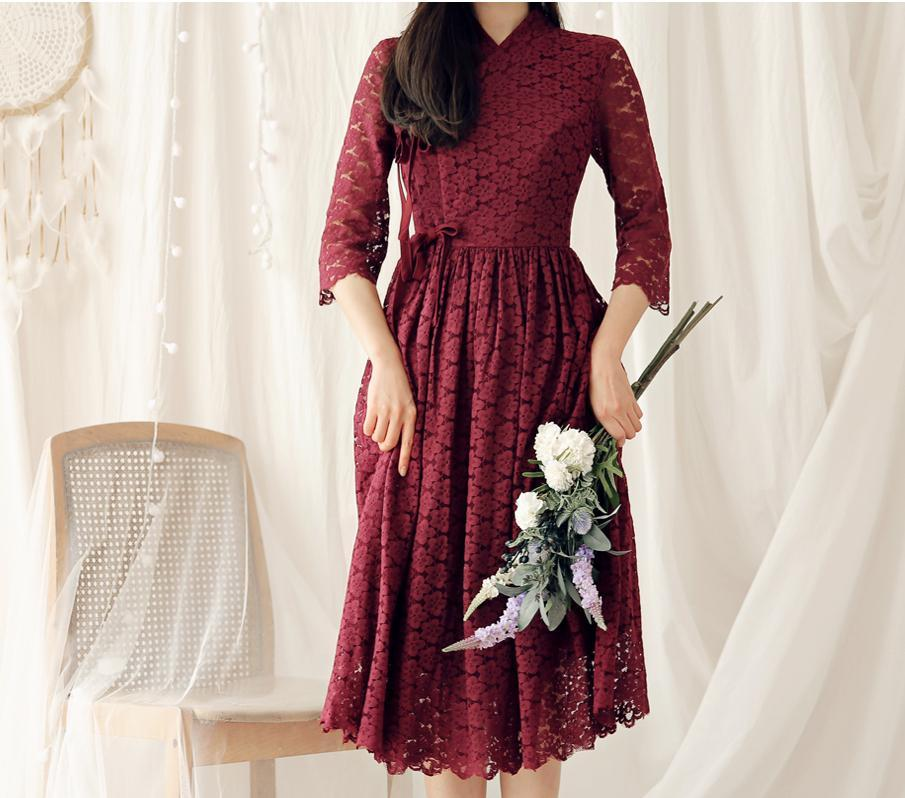 Women's Modern Hanbok: Tuscany Merlot Lace Dress-The Korean In Me