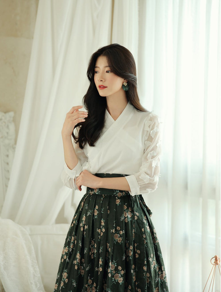 Women's Modern Hanbok: White Butterfly and Eternal Green Floral Skirt-The Korean In Me
