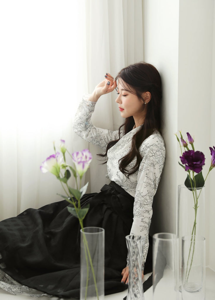 Women's Modern Hanbok: White Floral Top With Black Skirt-The Korean In Me