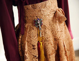 Women's Modern Hanbok: Wine Red Ruffle Top With Carmel Lace Skirt-The Korean In Me