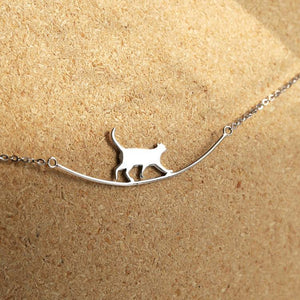 925 Silver Cat Curved Necklace