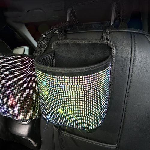 Luxury Diamond Rhinestone Car Storage Bag Organizer