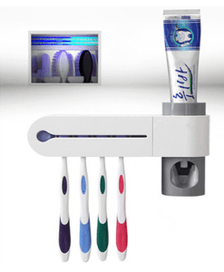 2-in-1 UV Disinfection Toothbrush Holder and Automatic Toothpaste Depenser