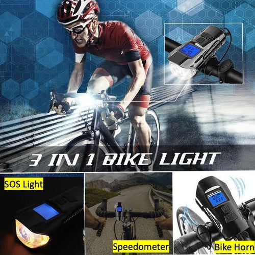 3-in-1 bicycle Light  (Horn, Speedometer,  Front/SOS Light) USB Charging