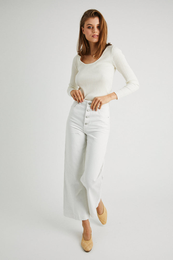 Rollas - Classic Rib Sweater in Off White
