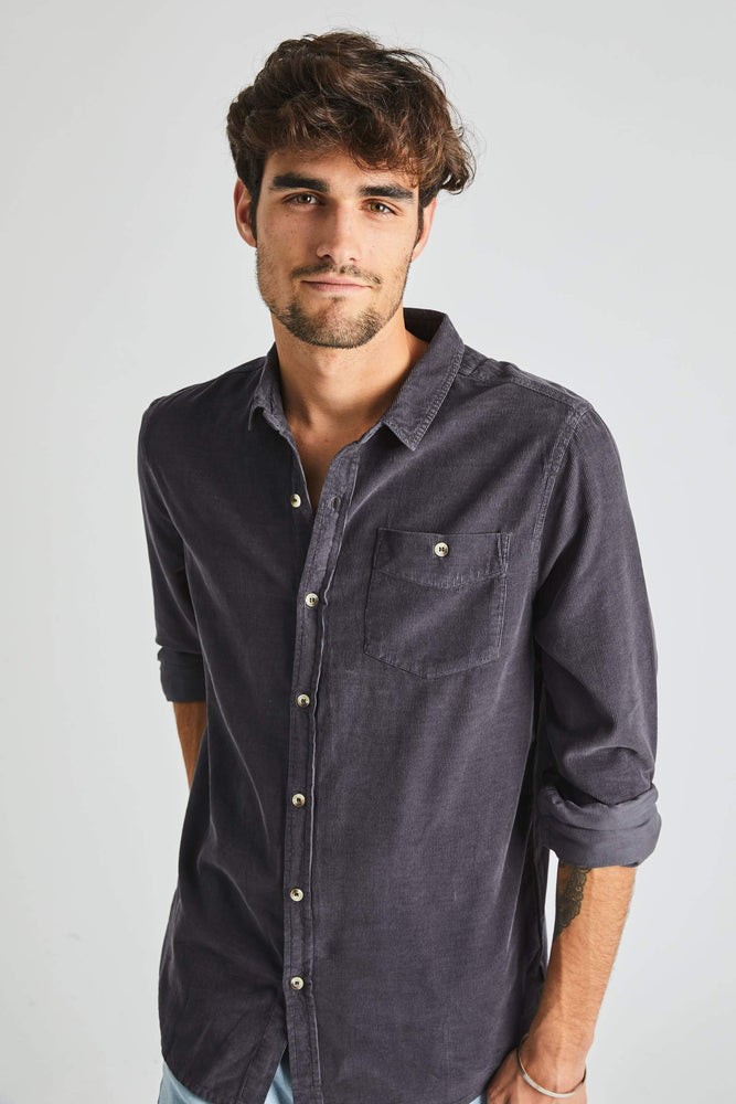 Rollas - Men At Work Cord Shirt in Faded Black