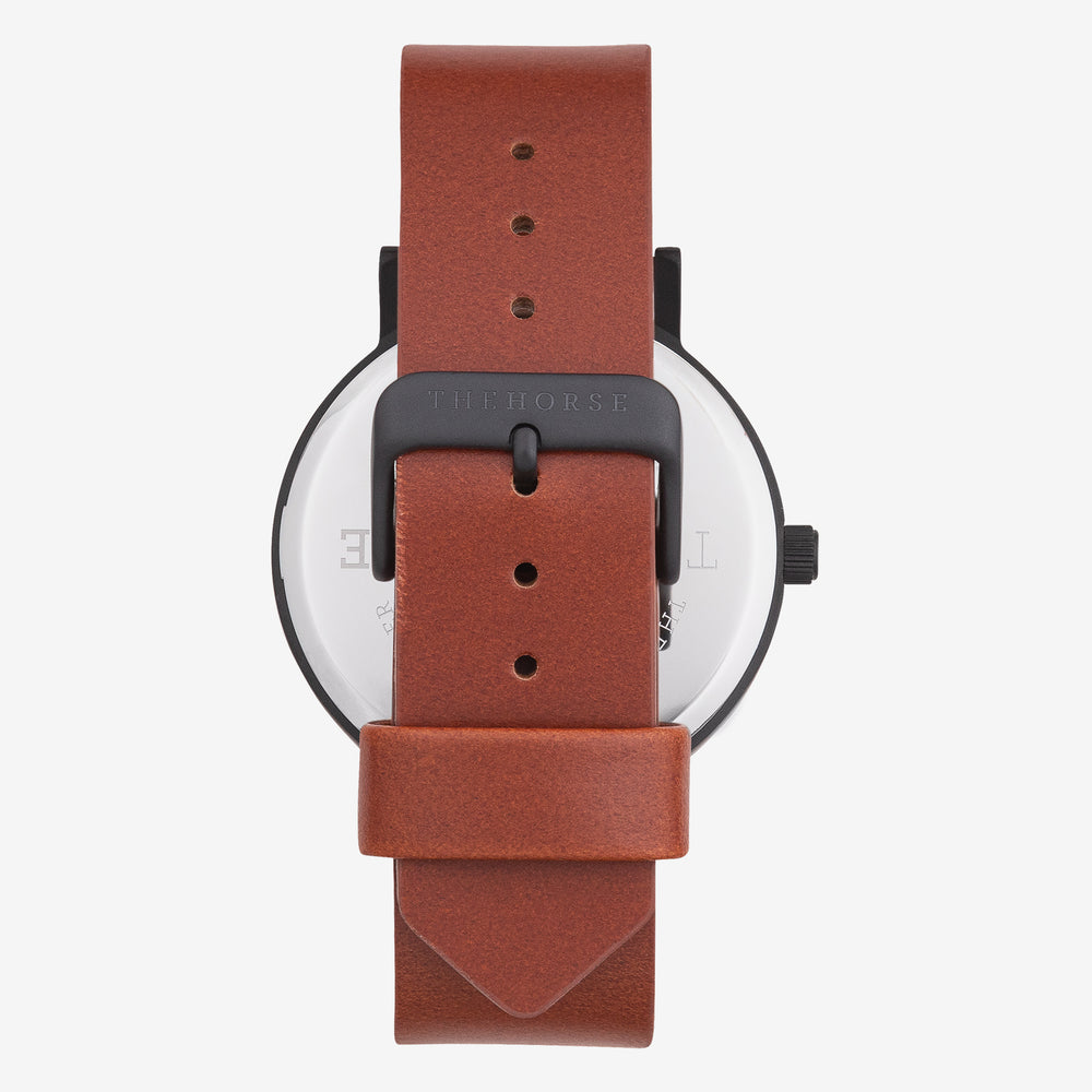 The Horse - Original Watch in Matte Black / White Face / Tan Band