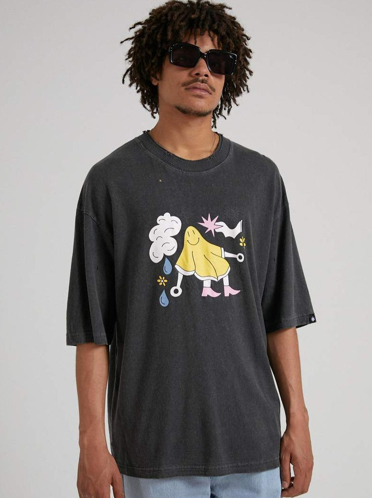 Afends - At Your Service - Hemp Oversized Tee - Stone Black