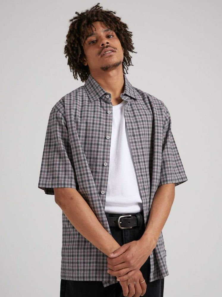 Afends - Business As Usual - Hemp Check Short Sleeve Shirt - Drizzle
