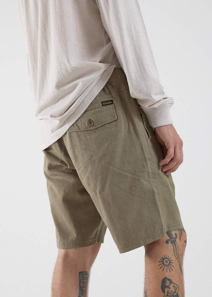 Afends - Dendy - Hemp Elastic Waist Walkshort - Military