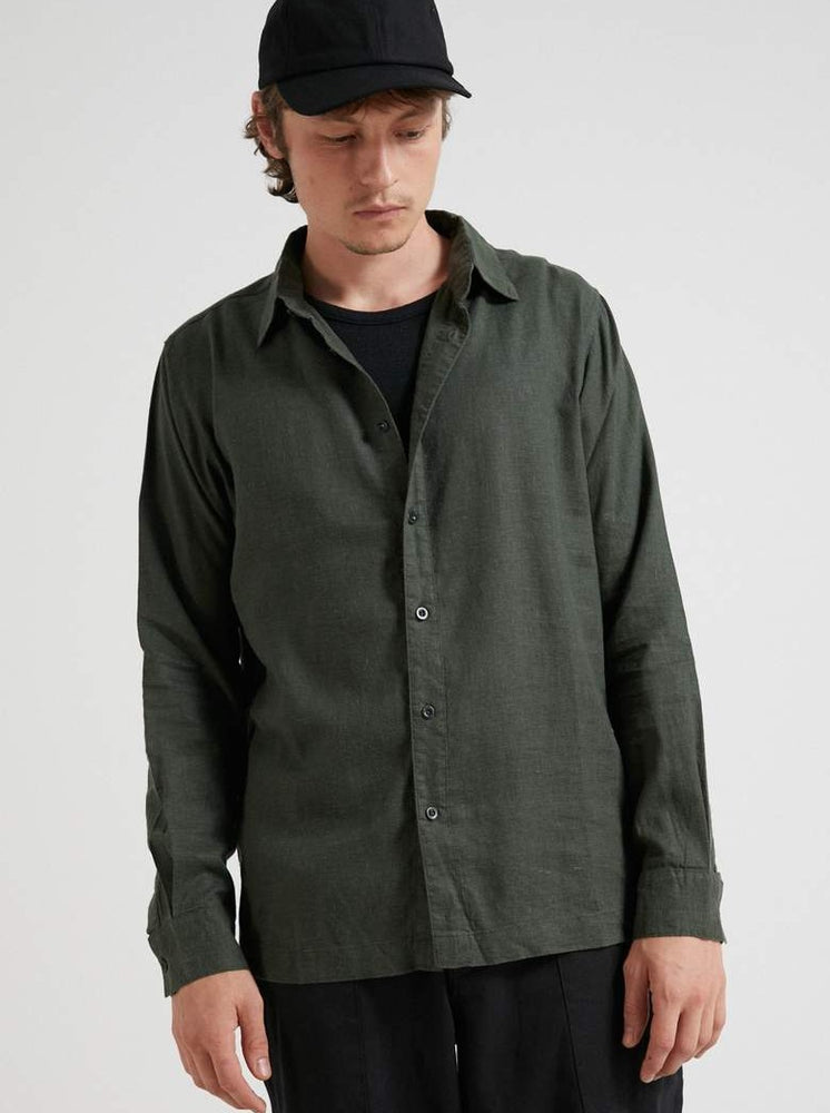 Afends - Everyday Hemp Long Sleeve Shirt in Military