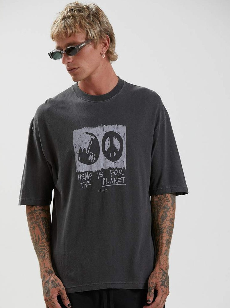 Afends - For The Planet - Hemp Oversized Tee - Stone Black