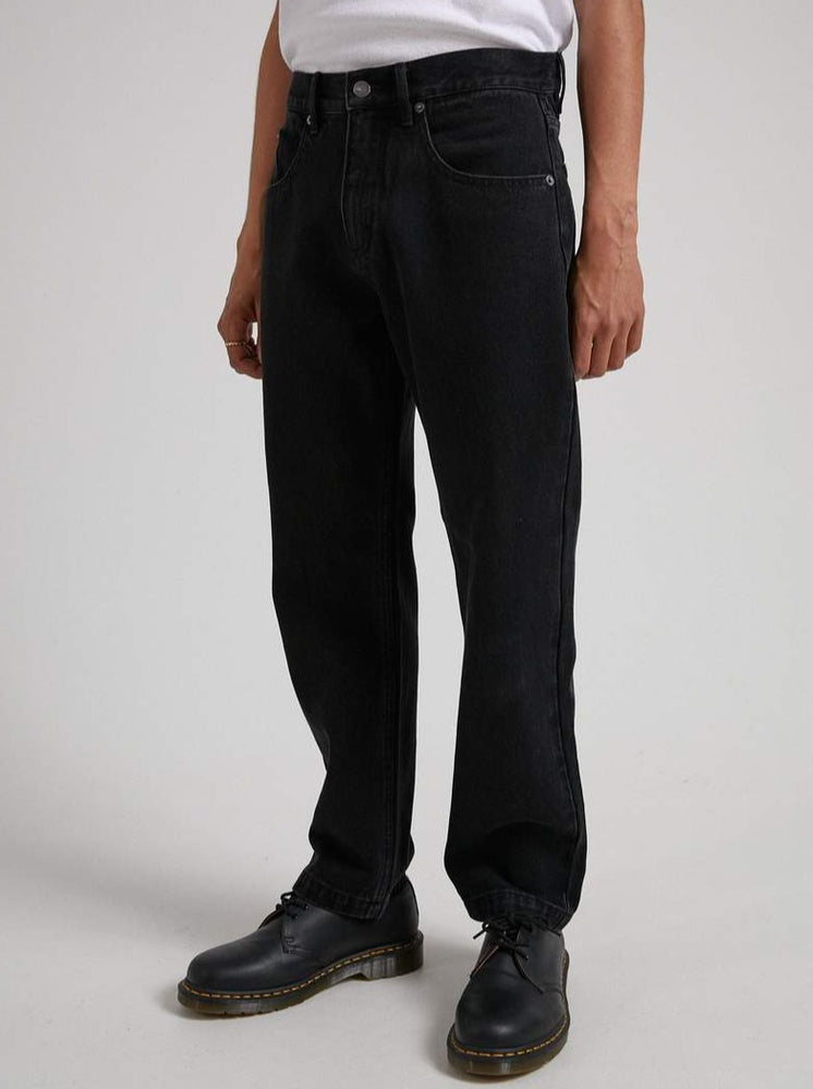 Afends - Ninety Twos - Organic Denim Relaxed Fit Jean in Washed Black