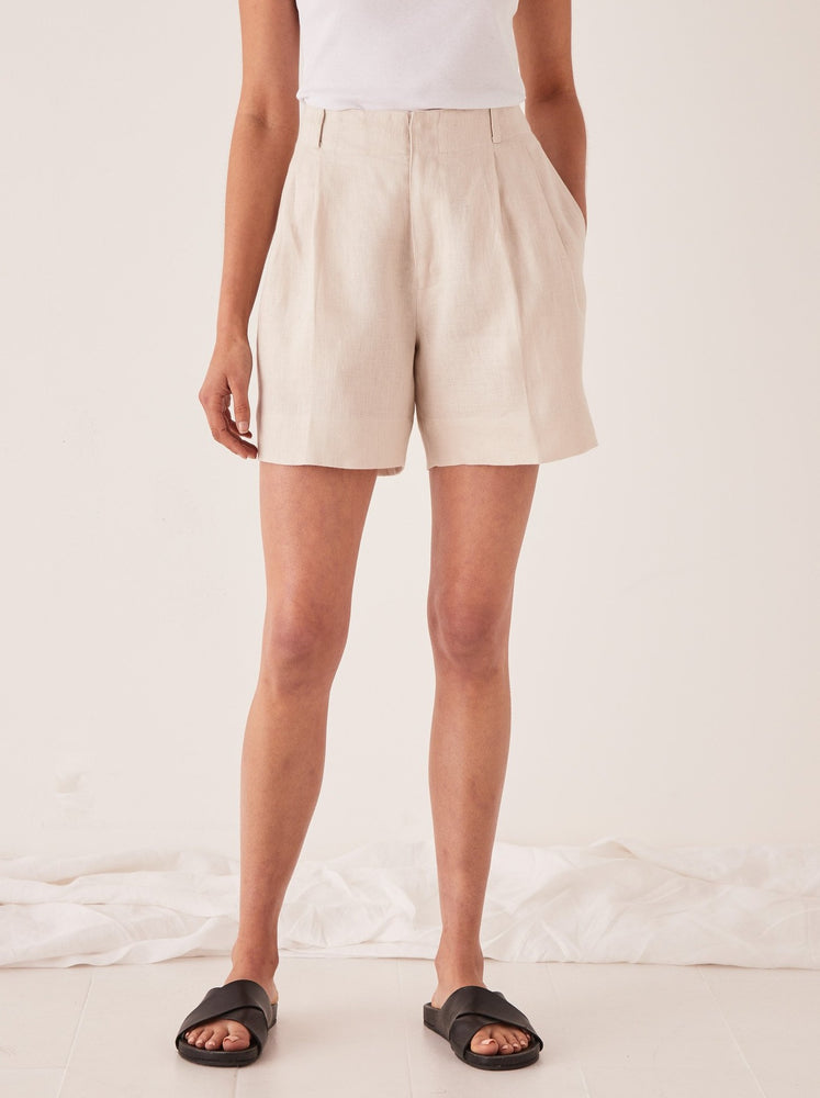 Assembly - Tailored Linen Short in Ivory
