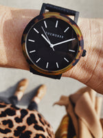 The Horse - The Resin Watch In Brown Tortoise Shell / Black Dial / Black Leather Strap