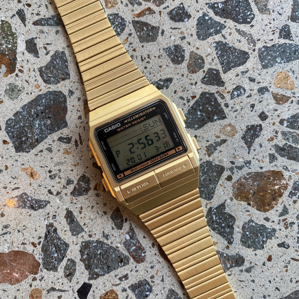 Casio - Data Bank Telememo Watch in Gold, DB380G-1DF