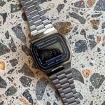 Casio - Vintage Digital EL Backlight, Alarm, S/Watch Gunmetal Grey S/Steel Band - A168WGG-1B