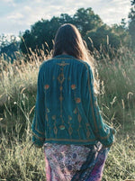 Golden Brown - Midnight in the Garden Jacket - Teal