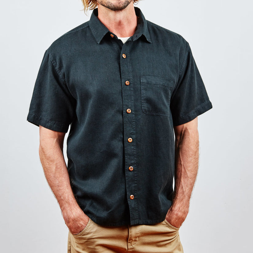 Hemp Clothing Australia - Midtown Shirt Pirate Black