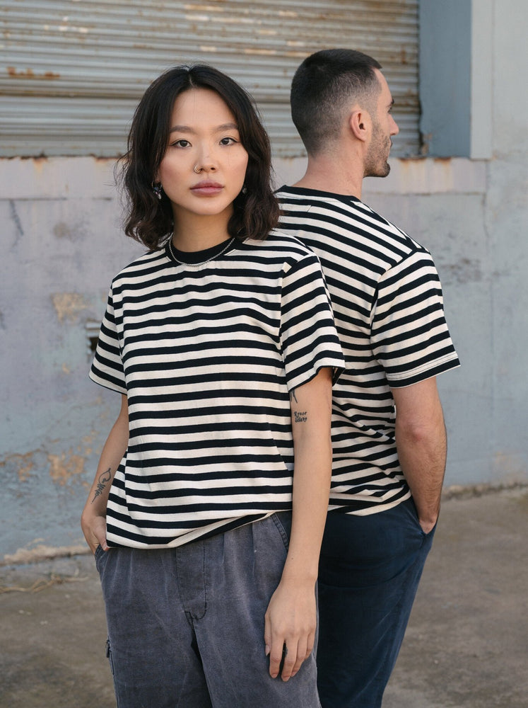Hemp Clothing Australia - Boxy Tee - Stripe Black/White