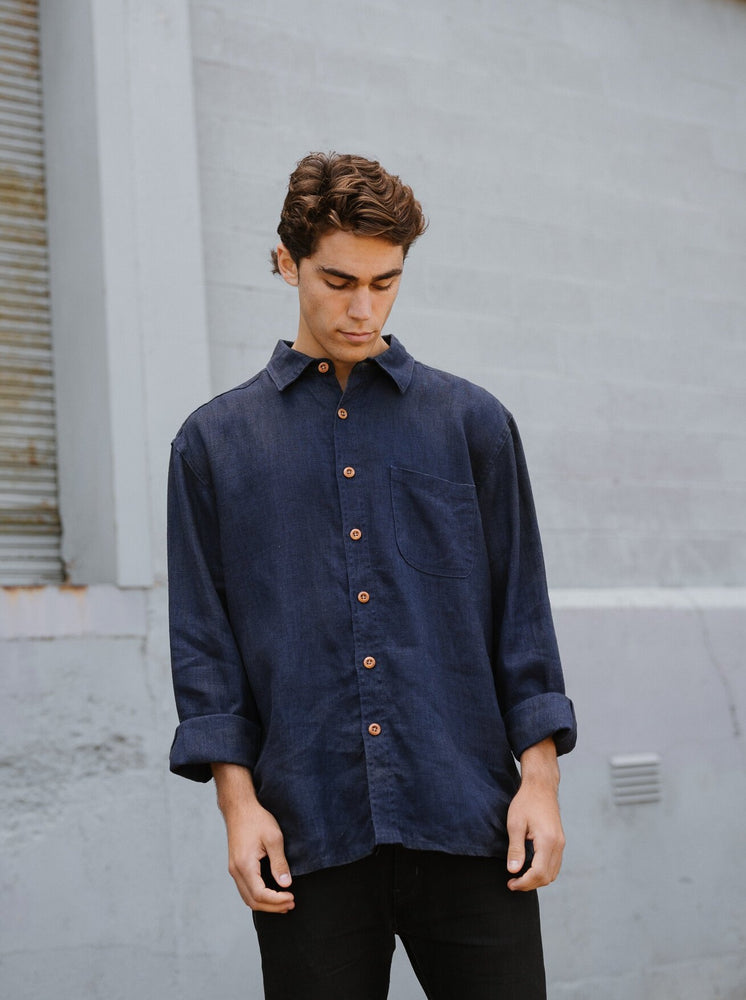 Hemp Clothing Australia - Heritage Shirt in Navy