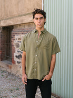 Hemp Clothing Australia - Newtown Shirt - Short Sleeve in Olive