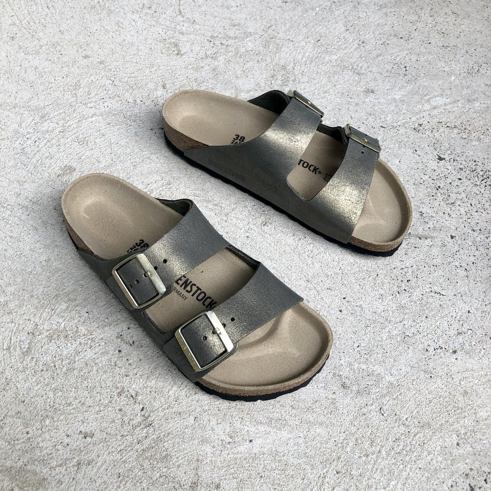 Birkenstock - Arizona - Suede Leather -Washed Metallic Stone Gold - Narrow