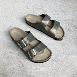 Birkenstock - Arizona - Suede Leather - Washed Metallic Stone Gold - Regular