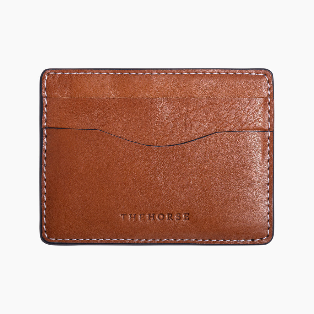 The Horse - Flatboy Leather Card Holder in Tan with Stitch
