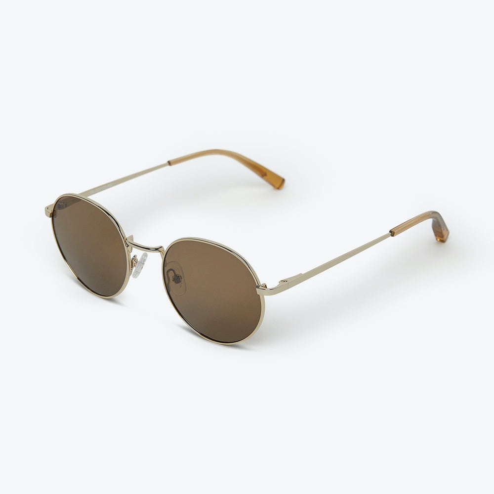 Local Supply - LON - POLARIZED in Polished Gold w/ Dark Brown Lens