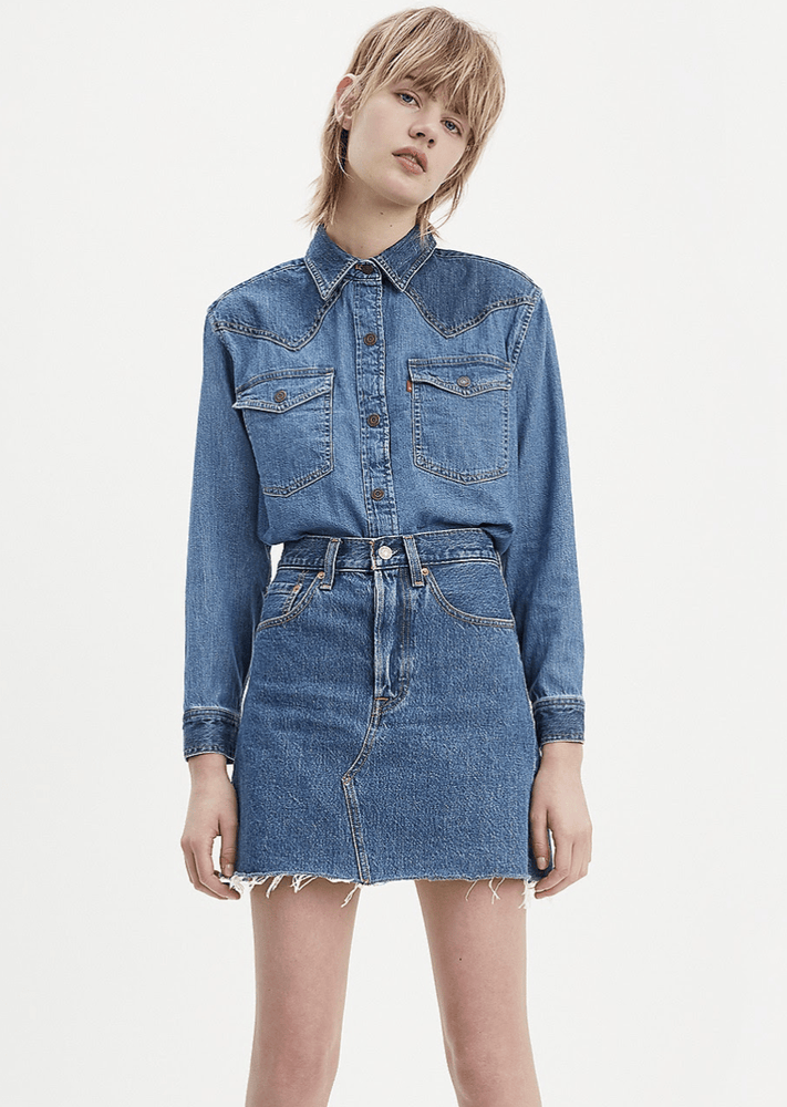 Levi's - High Rise Deconstructed Iconic BF Skirt in Meet In The Middle