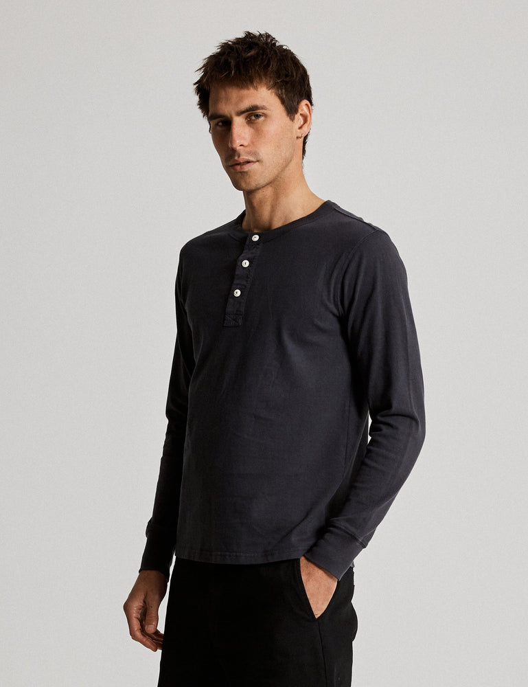 Mr Simple - Henley Neck Long Sleeve Tee in Washed Black