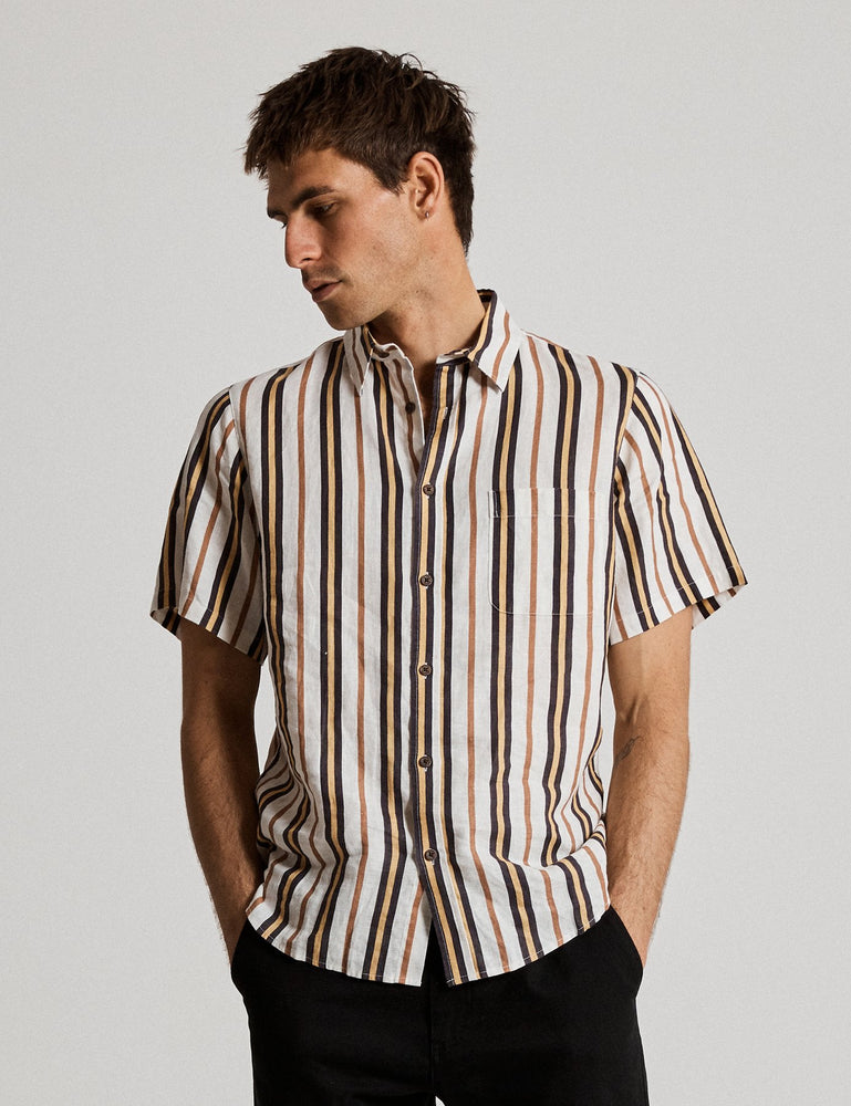 Mr Simple - Linen Short Sleeve Shirt in Natural Stripe