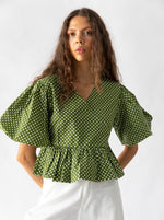 Nice Martin - Kayo Wrap Top in Green Polka Dot