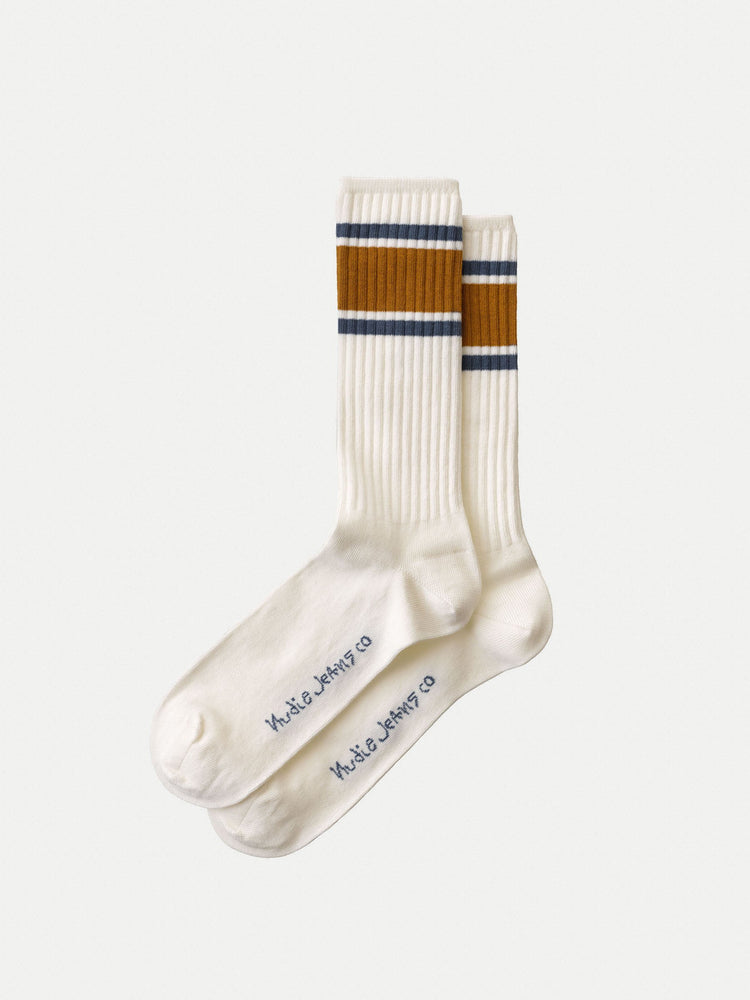 Nudie - Amundsson Sport Socks in Off White/Amber