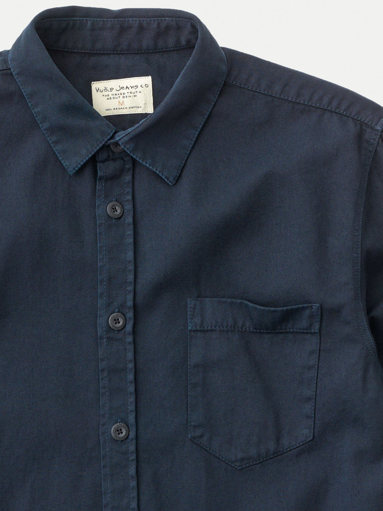 Nudie - Henry Pigment Dyed Button Up in Navy